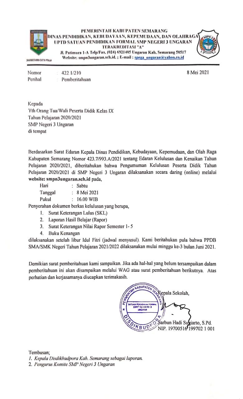 PEMBERITAHUAN KELULUSAN PESERTA DIDIK TP 2020 - 2021